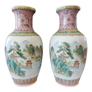 Landscape Famille Rose Vases - A Pair