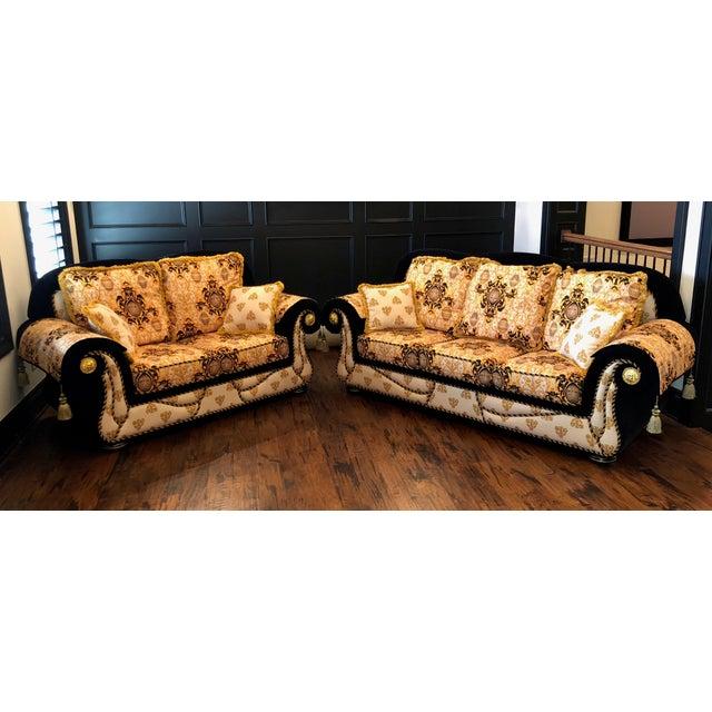Versace Inspired Custom Italian Formal Sofa Loveseat