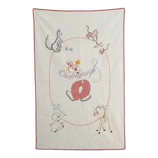 Vintage Handmade Embroidered Circus Baby Quilt