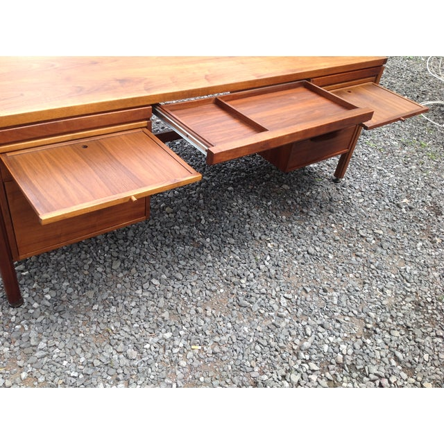 Jens Risom Walnut Executive Desk - Image 10 of 10