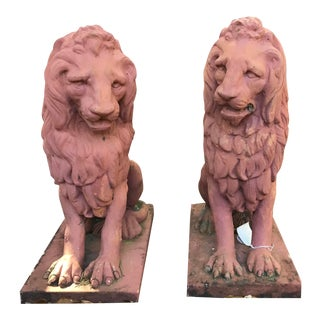 Proper Pair of Terra Cotta Lions For Sale