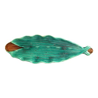 Majolica Leaf Relish Dish For Sale