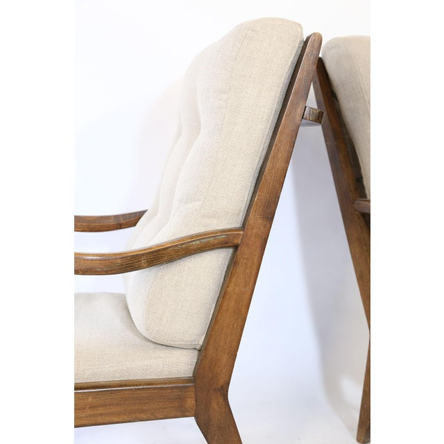 Pair of Mid-Century Modern Armchairs, Newly Upholstered For Sale - Image 4 of 9
