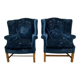 Drexel Heritage Velvet Blue Wingback Arm Chairs - a Pair For Sale