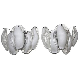 Murano White and Clear Blown Glass Sconces - a Pair For Sale