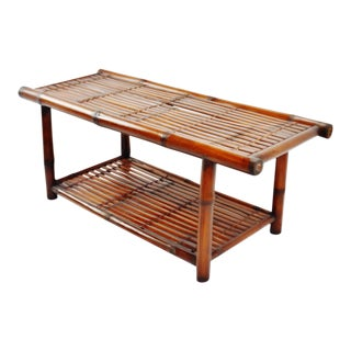 Vintage Bamboo and Rattan Hall Bench With Cushion For Sale