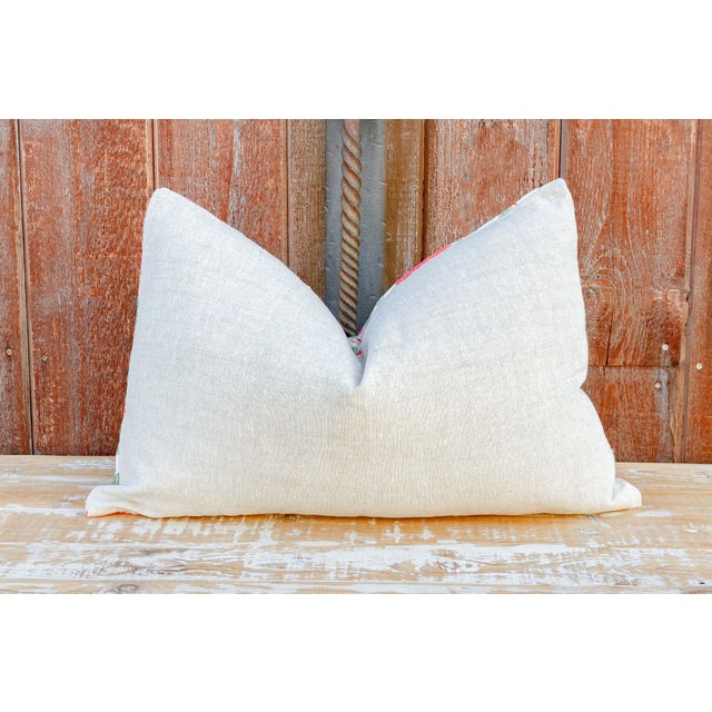 White Pahi Pomegranate & Green Ivy Lumbar Suzani Pillow For Sale - Image 8 of 10