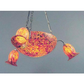 """1930s Deco Era French """"End of Day"""" Colored Art Glass Chandelier Preview"""