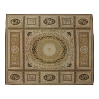 Aubusson Hand-Knotted Wool Area Rug-8'8x11'2 For Sale