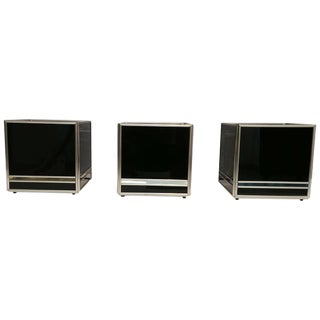 Mid-Century Modern Set Three Cubes Glass and Brass, Italy, 1970s For Sale