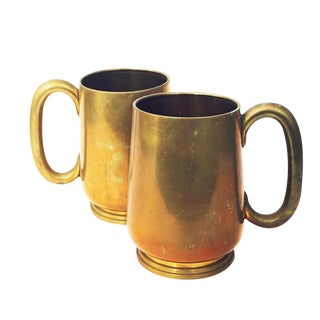 Vintage Solid Brass Mugs - A Pair