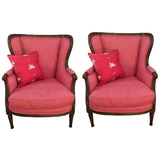 French Louis XVI Style Red Stripe Upholstered Carved Oak Bergere Chairs - a Pair For Sale