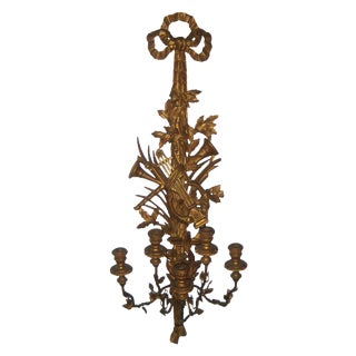Large Antique Italian Giltwood Candle Holder Wall Sconce With Ribbons, Lyre & Horns For Sale