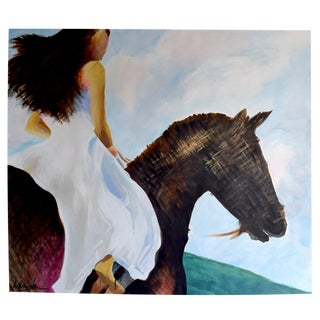 Girl on a Horse, Too Painting For Sale