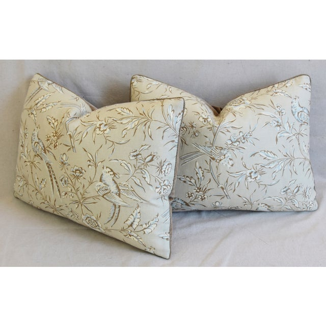 """Scalamandre Aviary & Velvet Feather/Down Pillows 22"""" X 16"""" - Pair For Sale - Image 9 of 13"""