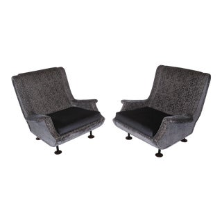 1960s Mid-Century Modern Marco Zanuso Regent Italian Lounge Chairs - a Pair For Sale