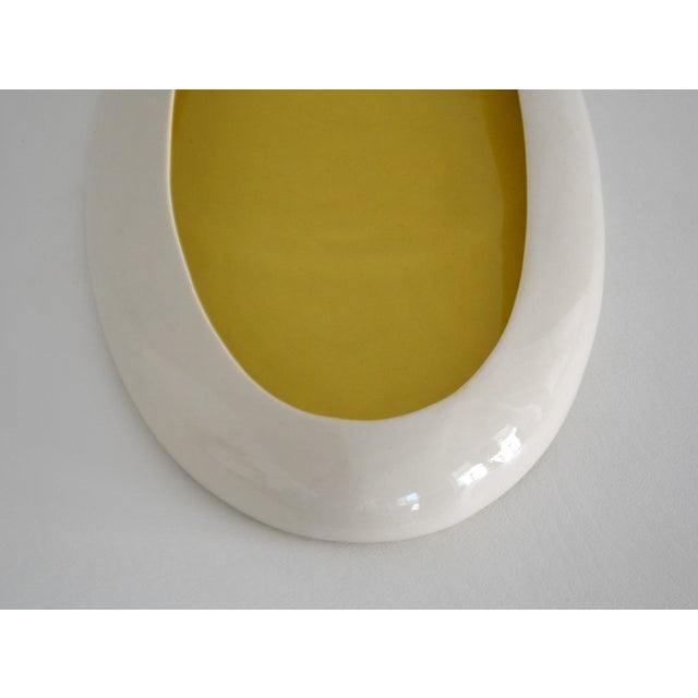 White 1930s Mid-Century Yellow and White Ceramic Bowl For Sale - Image 8 of 13