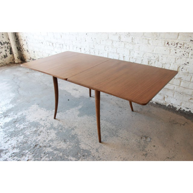 Brown Harvey Probber Mid-Century Modern Bleached Mahogany Saber Leg Flip Top Extension Dining or Game Table For Sale - Image 8 of 10