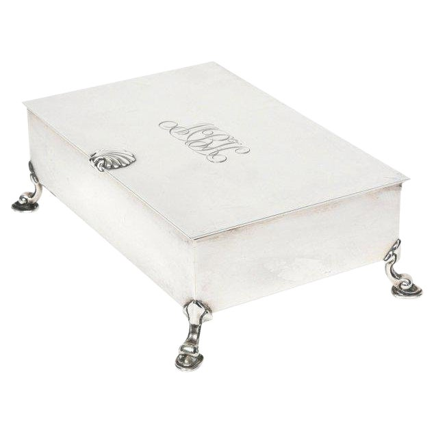 Mid-Century Modern Tiffany Sterling Shell & Dolphin Box For Sale