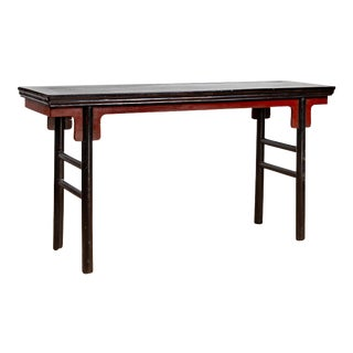 Chinese Ming Dynasty Style Black Lacquered Altar Console Table with Red Apron For Sale