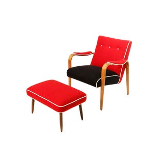 Mid Century Curated Lounge Armchair Red and Black With Ottoman For Sale