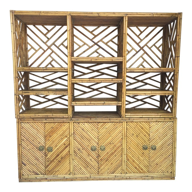 Vintage Split Bamboo Display Cabinet - Image 1 of 11