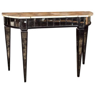 Maison Jansen Mirrored Demilune Console Table For Sale