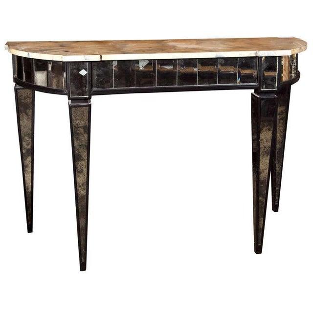 Maison Jansen Mirrored Demilune Console Table For Sale