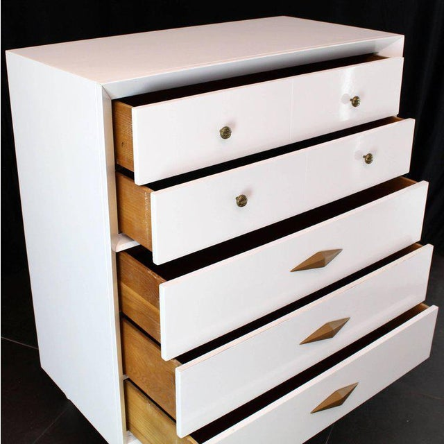1950s 1970s Mid-Century Modern White Lacquer Deco High Chest Dresser With Diamond Pulls For Sale - Image 5 of 11