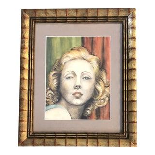 Vintage Original Female Portrait Watercolor Painting For Sale