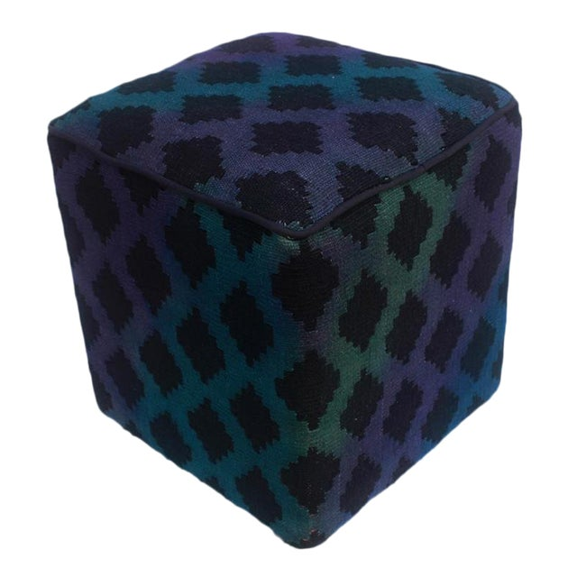 Arshs Donovan Blue/Purple Kilim Upholstered Handmade Ottoman For Sale