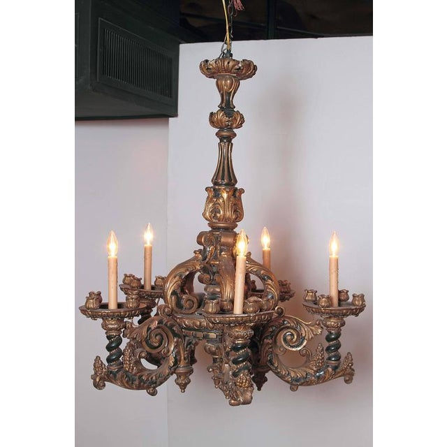 Italian Carved Wood Chandelier - Image 2 of 9