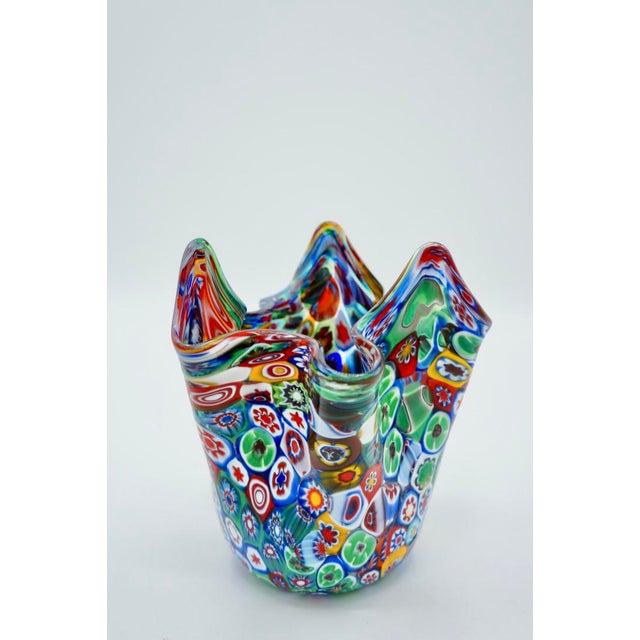 Vintage Murano Multicolored Millefiori Handkerchief Vase For Sale - Image 10 of 10