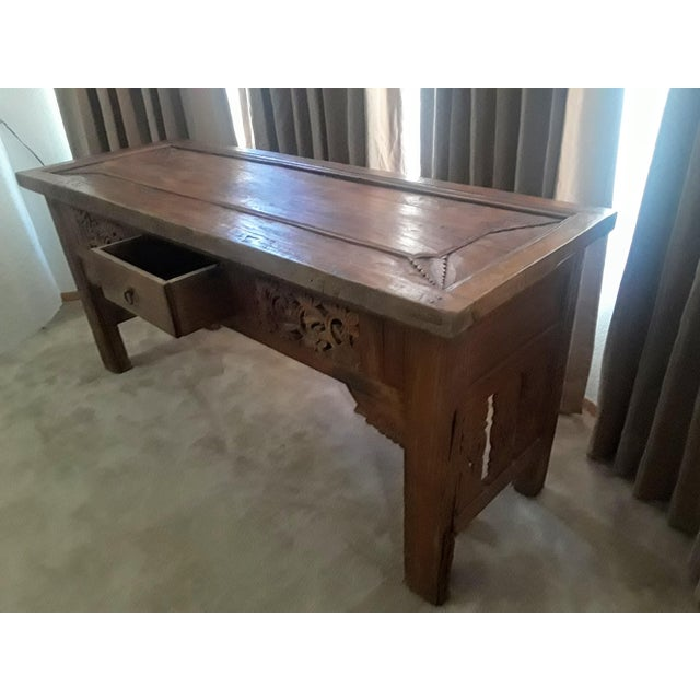 Anglo-Indian Vintage Carved Teak Console Table For Sale - Image 3 of 8