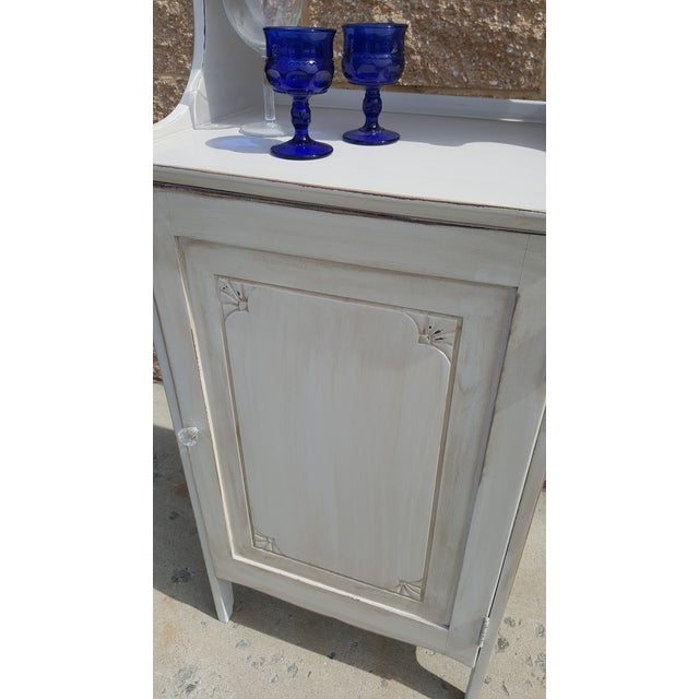 White Vintage Painted Storage Cabinet For Sale - Image 8 of 9