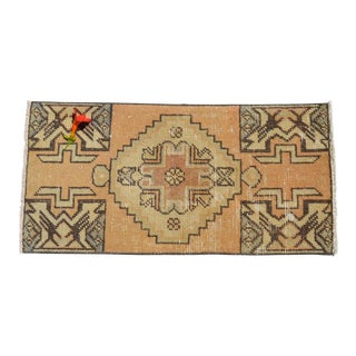 Hand Made Turkish Small Rug Distressed Low Pile Mat Bath Rug Kitchen Decor - 16'' X 33'' For Sale