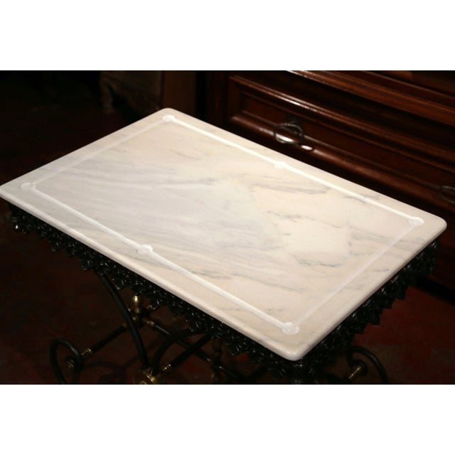Polished French Iron Butcher or Pastry Table With Marble Top and Brass Mounts - Image 3 of 11