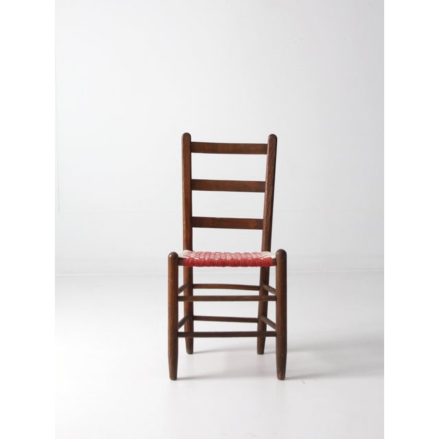 Ladder Back Chair with Woven Fabric Seat - Image 4 of 9