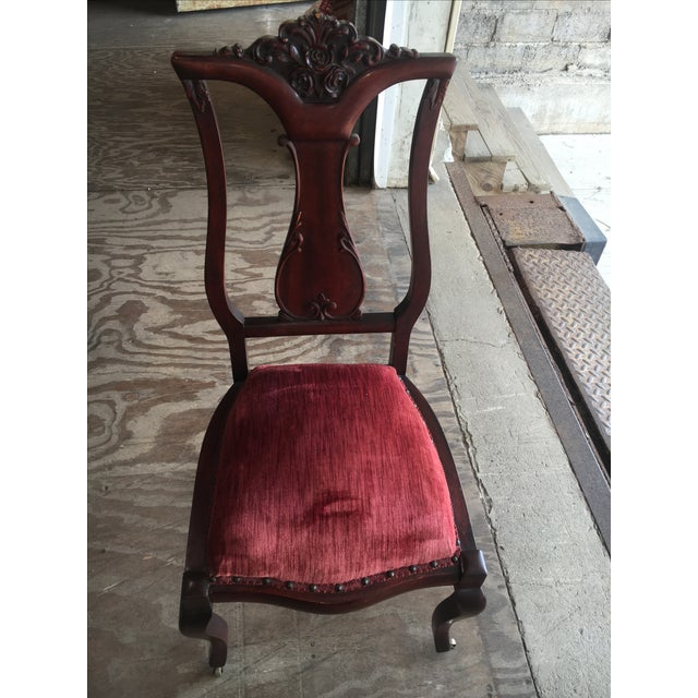 Rosette-Carved Victorian Chair - Image 4 of 8