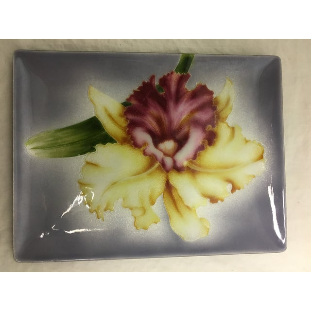 Asian Vintage Japanese Cloisonne Tutanka Orchid Tray For Sale - Image 3 of 4