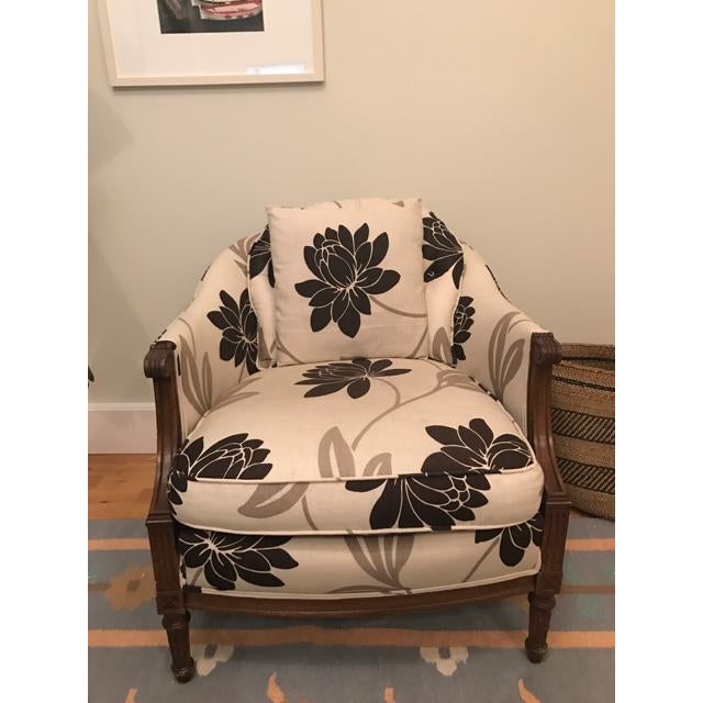 Newly Reupholstered Transitional Accent Chairs - a Pair - Image 4 of 5