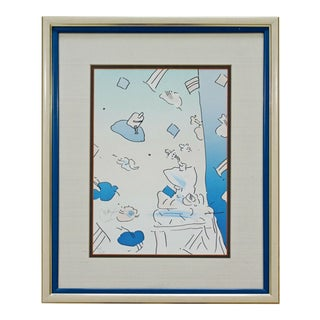 "Mid Century Modern Framed Peter Max Pencil Signed Lithograph ""If"" 111/280 For Sale"