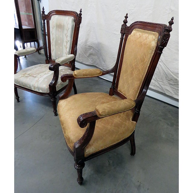 Louis XVI Style Companion Armchairs - a Pair For Sale - Image 4 of 8