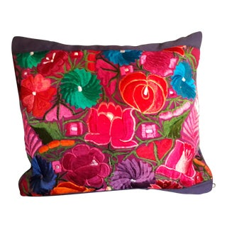 Mexican Handmade Embroidered Pillow Cover For Sale