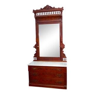 Late 19th Century American Black Walnut Dresser & Mirror