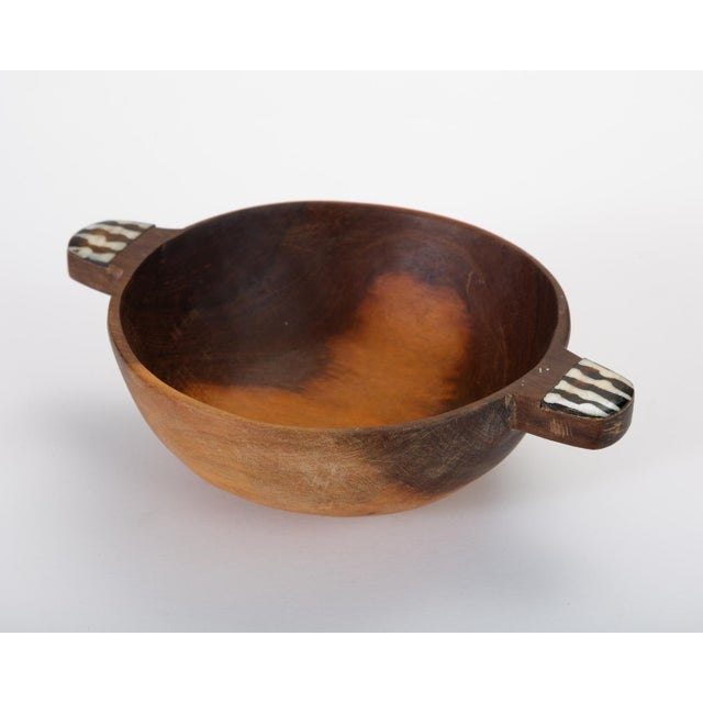 Bone Hand-Carved Sandalwood Bowl With Bone Inlay Handles For Sale - Image 7 of 10