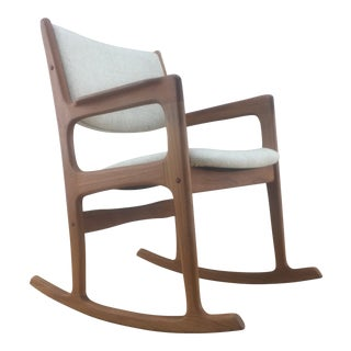 Vintage Midcentury Benny Linden Teak Rocking Chair For Sale