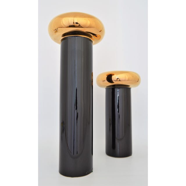 Jaru Monumental Black & Gold Candle Holders - a Pair - Mid Century Modern MCM For Sale In Miami - Image 6 of 9