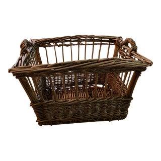 Vintage French Wicker Boulangerie Bakery Bread Basket For Sale
