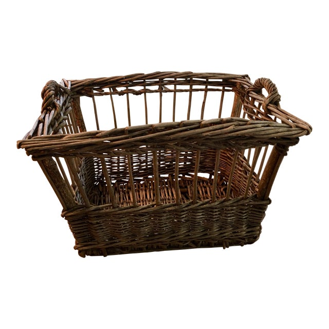 Vintage French Wicker Boulangerie Bakery Bread Basket For Sale